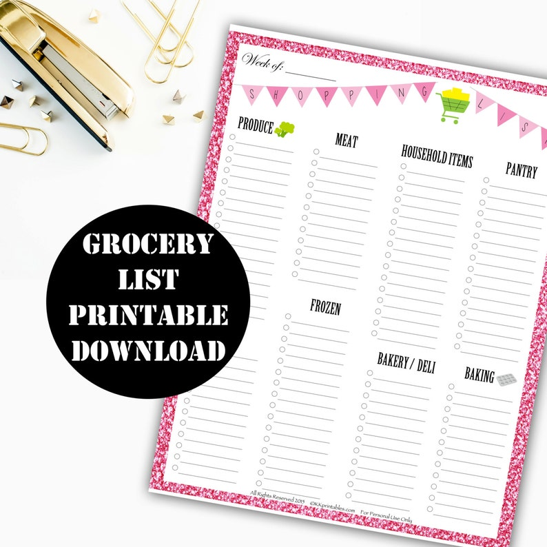 Grocery List Printable Digital Download // Erin Condren Life image 0