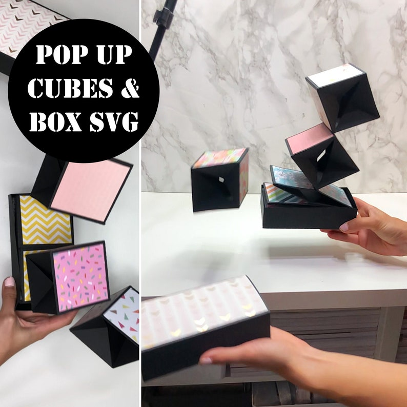 Pop Up Cubes in a Box SVG Digital File Pop Up Cubes SVG Pop image 0