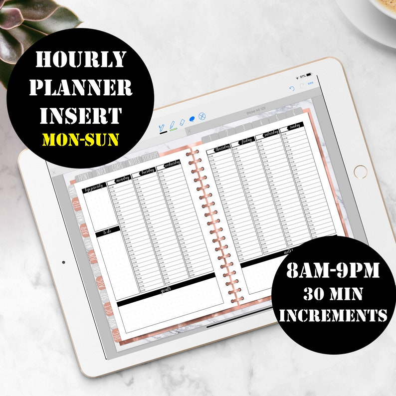 Monday-Sunday Vertical Hourly Weekly Planner Printable Digital image 0
