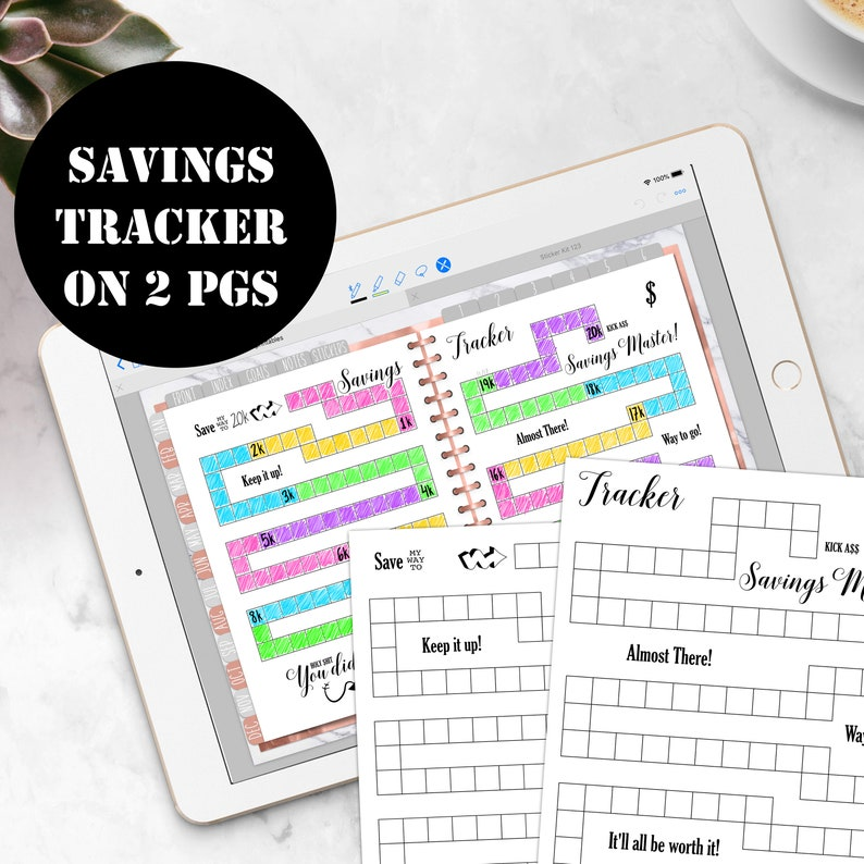 Savings Tracker Printable on 2 pages Savings Tracker Insert image 0