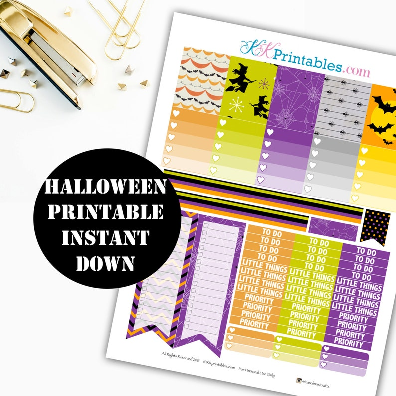 Halloween Printable Planner Stickers // Erin Condren Printable image 0