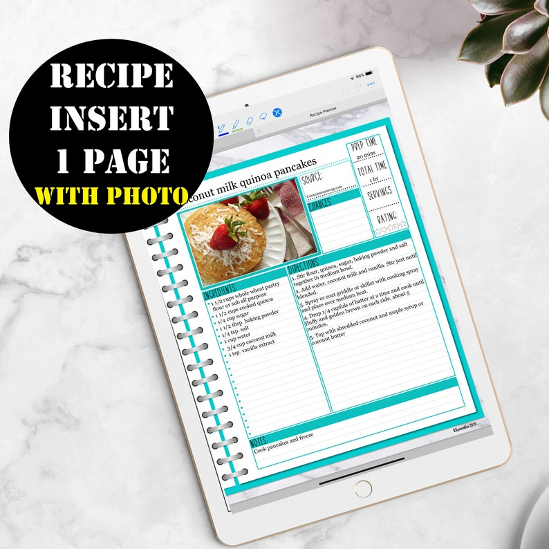 Recipe Cards Insert Printable Digital Download GoodNotes image 0