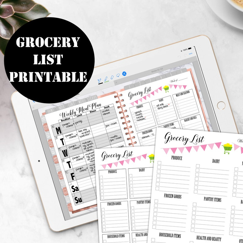 Grocery List Printable Digital Download GoodNotes Planner image 0