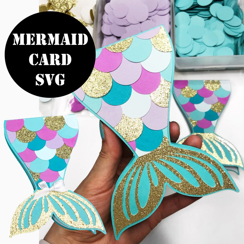 Mermaid Card SVG Digital File Mermaid SVG Mermaid Tail SVG image 0