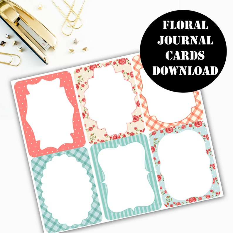 Floral Print Journaling Card Printable / Journal Cards / image 0