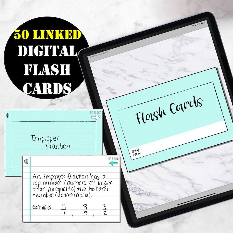 50 Digital Flash  Cards Digital Study Cards for Goodnotes image 0