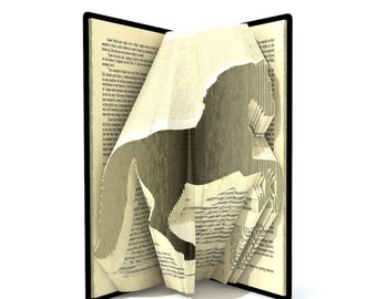 Book folding pattern - HORSE - 243 folds + Tutorial with Simple pattern - Heart - AN1003