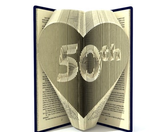Book folding pattern - 50th in HEART- 245 folds + Tutorial with Simple pattern - Heart - FH0801