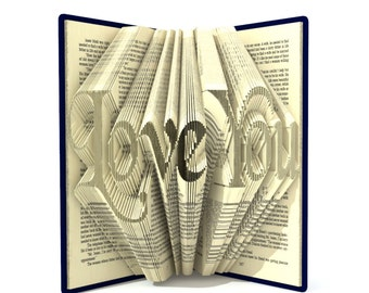 Book folding pattern - LOVE YOU - 292 folds + Tutorial with Simple pattern - Heart - WO0107