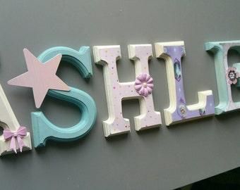 Wall letters / wooden letters / Wood letters / wall decoration/room baby / nursery/white/rose/mauve / Princess / purple, pink, aqua, princess.