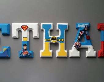 Wall letters, avengers, superhero wall decor, room for children, personalised, wood letters hanging letters.