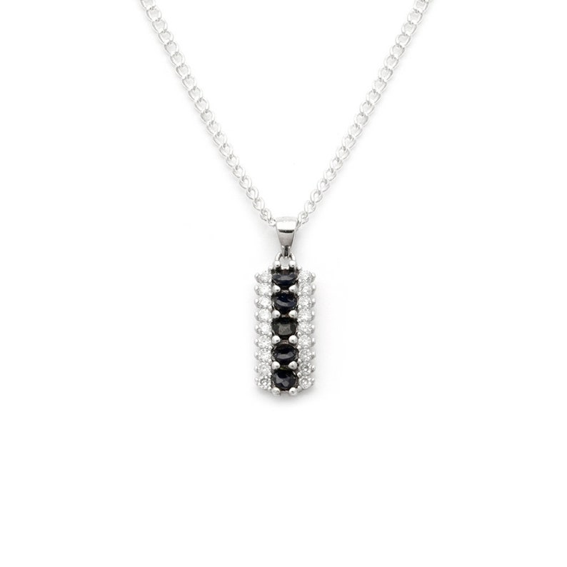 Sterling Silver Sapphire and Diamond Pendant Necklace
