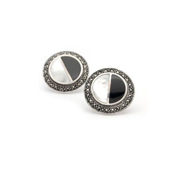 Mexican Obsidian Mother of Pearl Marcasite Silver