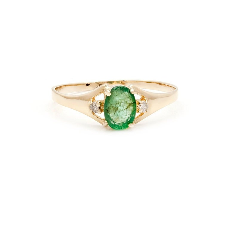 Vintage Dainty Natural Emerald Oval and Diamond Accent Ring in Yellow Gold