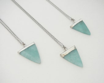 Unique Natural Stone Necklace Mint Necklace Natural Amazonite Free Shipping