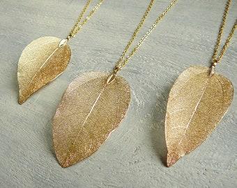 Gold leaf necklace | Etsy