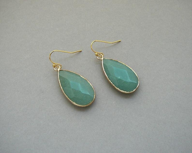 Aventurine Earrings Green Stone Earrings Green Aventurine Drop Earings Birthstone Earrings Aventurine Jewelry Gold Earrings for Women Gift