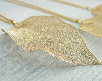 Gold Leaf Necklace Real Leaf Necklace Natural Leaf Jewelry for Womens Gift Gold Plated Leaf Necklaces Girl Gold Dipped Leaf Natures Leaves
