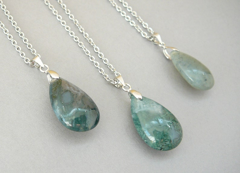 Moss Agate Crystal Necklace Silver Long Necklace for Women Genuine Moss  Agate Pendant Healing Crystals Gemstones Necklace Mens Gift for her