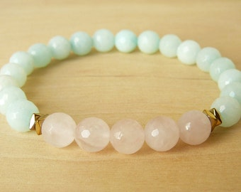 Amazonite Bracelet for her Healing Bracelet Yoga Bracelet Meditation Bracelet Beaded Bracelet Heart Chakra Rose Quartz Bracelet Wrist Mala