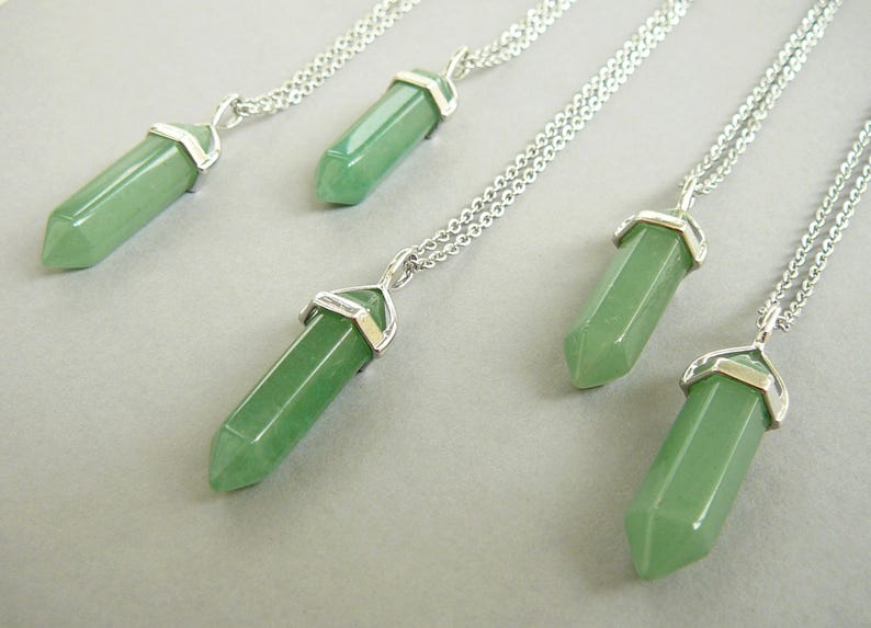 4255ac94722a1 Aventurine Necklace Silver, Natural Green Aventurine pendant, Gemstone Long  Necklaces for women men, Aventurine jewelry, Silver Aventurine