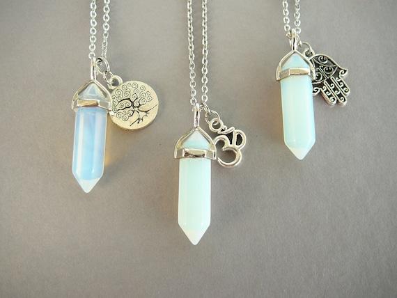 Collar De Piedras Preciosas Colgante de punto de Opalite Cristal Healing chakras reiki