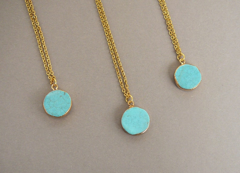 04c77776109 Turquoise Necklace Blue Pendant Necklace Small Round   Etsy