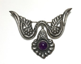 Vintage Marked Sterling Silver Mexican Brooch