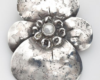 Mary Gage Pansy Sterling Brooch Signed