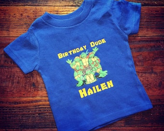 Custom Ninja Turtle Birthday Shirt