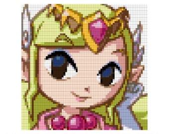 Legend of Zelda Cross Stitch Pattern, Windwaker, Nintendo, Princess Zelda, Link, Gaming, Video Games