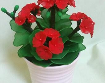 geranium,geranium pot,handmade geranium,red geranium,geranium flower,unique flower,unique gift idea,Easter,birthday