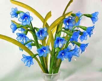 set - 3 stems of bluebells flowers,handmade blue flower,nylon flowers,blue flower,bluebells,handmade bluebells,unique gift idea, **
