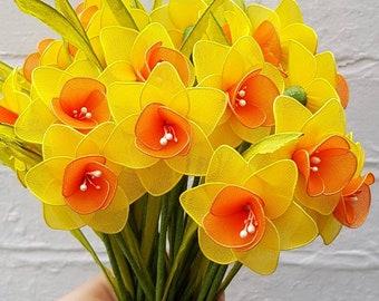 set-3 individual daffodils,daffodils,nylon daffodil,yellow daffodil,handmade flower,nylon flower,thank you,spring,daffodil,Easter