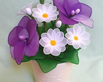 daisy,daisy vase,unique daisy,white daisy,nylon flowers,handmade daisy,unique gift idea,unique flowers,birthday,anniversary