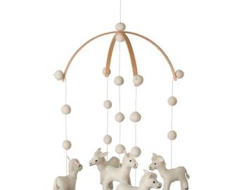 Donkey - Mobile- Baby mobile- Felt- Black White- Baby shower-Baby-Gift- Donkey nursery - MADE TO ORDER