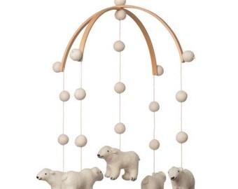 baby mobile - nursery decor - bear mobile - polar bear mobile - polar bear MADE TO ORDER - Scandinavian nursery