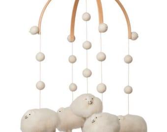 nursery decor - baby mobile - Lamb mobile - Sheep mobile - sheep nursery - felt balls - felt - wool _MADE TO ORDER -Scandinavian nursery