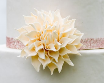 "Dahlia Sugar Flower - Medium 3"" Ivory Dahlia - Unique Wedding Cake Topper - Gumpaste Flower"