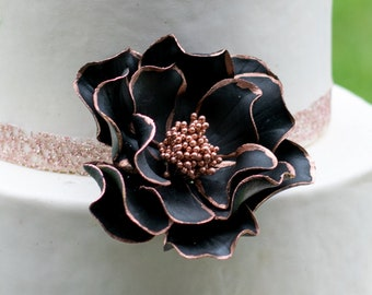 Black Open Rose with Rose Gold Edging Sugar Flower Cake Topper