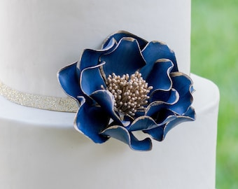 Navy and Gold Open Rose Sugar Flower with Gold Edging for wedding cake toppers, READY TO SHIP