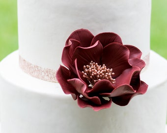 Burgundy and Rose Gold Open Rose Sugar Flower - Wedding Cake Topper - Ready to Ship