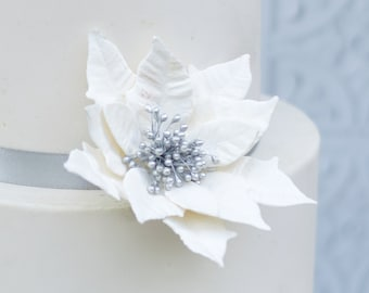 Pearl and Silver  Poinsettia Sugar Flower for gumpaste decorations, winter wedding cake toppers, christmas cakes, and yule logs