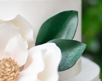 3 Magnolia Leaves - perfect for using with Gumpaste and Sugar Flower Cake Toppers