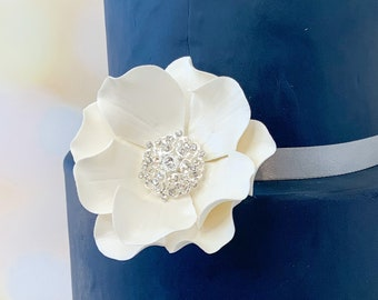 Pearl Open Rose with Crystal Brooch Center Sugar Flower wedding cake topper