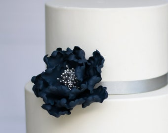 Navy Blue and Silver Open Peony Sugar Flower Wedding Cake Topper
