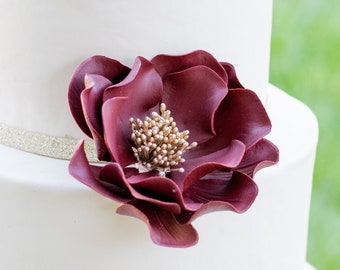 Burgundy and Gold Open Rose Sugar Flower - Wedding Cake Topper READY TO SHIP