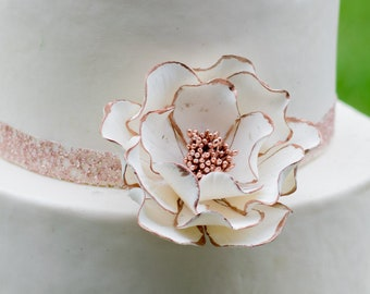 White Open Rose Sugar Flower with Rose Gold Edging wedding cake topper
