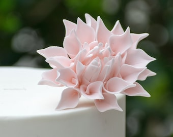 "Small 2"" Blush Pink Dahlia Sugar Flower Wedding Cake Topper - READY TO SHIP"
