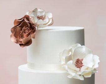 Rose Gold Open Rose Sugar Flower Arrangement - set of 3 flowers - Wedding Cake Topper